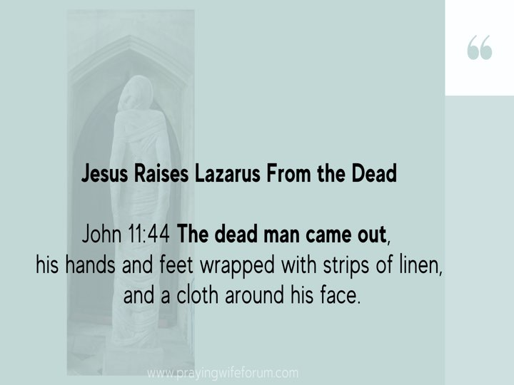 Lazarus, Come Out images bible study .020